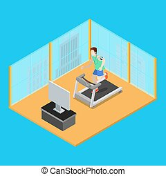 Sporty Man Running on Treadmill at Home. Isometric People. Vector illustration