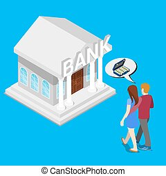 Couple go to the bank for a Credit. Isometric People. Vector illustration