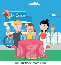 Happy Family Eating Ice Cream. Family Weekend. Vector...