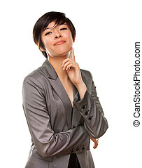 Pretty Multiethnic Young Adult Woman Poses on White