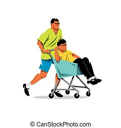Riding supermarket shopping cart. Vector Cartoon...