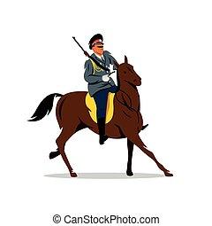 Vector Russian cavalry Cartoon Illustration. - Soldier on...