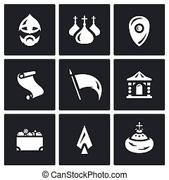 Vector Set of Ancient Russia Icons - Collection of...