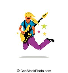 Vector Rock Guitarist Cartoon Illustration - Rock musician...