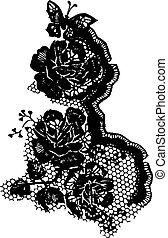 rose and butterfly lace pattern