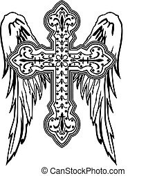 cross with wing tribal design