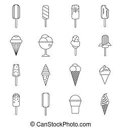 Ice cream icons set in outline style for any design