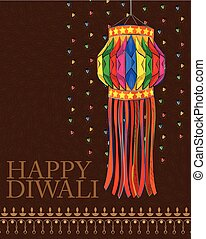 Decorated hanging lamp for Diwali celebration