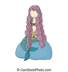 Beautiful little mermaid with shells. Siren.