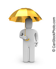 Person and umbrella - Conceptual image. Isolated on white