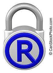 Concept: padlock with sign trademark. 3D rendering. -...