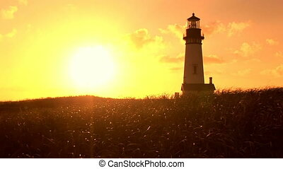 Yaquina Head Lighthouse - Sunset on Oregon Coast, Yaquina...