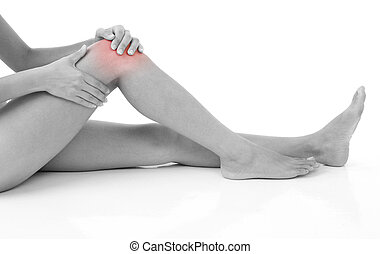 Knee Injury - Woman holding on sore knee isolated on white.