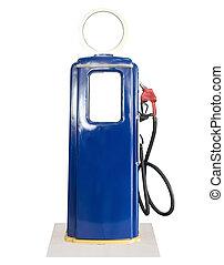 Vintage blue fuel pump on white background - Old blue petrol...