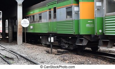 Thai railway train - Bangkok, Thailand - September 5, 2015 :...