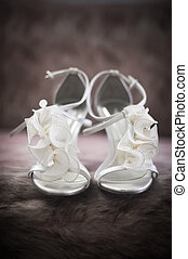 Bridal Shoes - Soft-focus image of beautiful white bridal...
