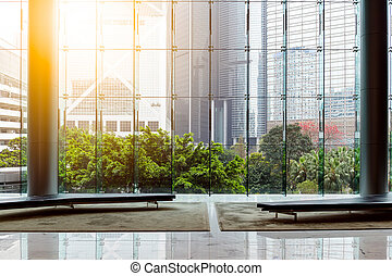 Office building with glass wall