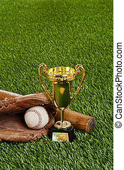 baseball trophy with bat ball