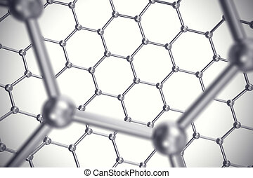 Graphene nanostructure sheet at atomic scale 3d illustration...