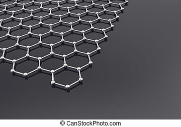 Graphene Surface, nanotechnology background. 3d illustration...