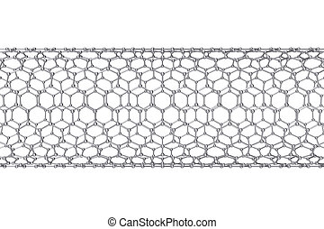 The structure of the graphene tube of nanotechnology. 3d...