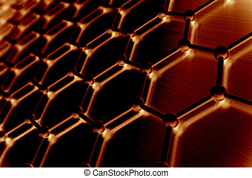 Graphene atomic structure, nanotechnology background. 3d...