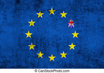 brexit blue european union EU flag on grunge texture with...