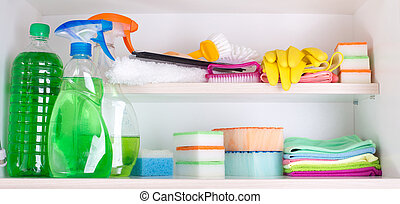 Cleaning supplies in pantry - Cleaning supplies and tools...