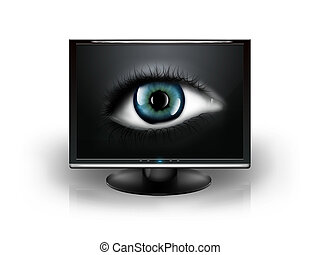 eye in the monitor isolated on white background