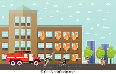 Fire fighting department vector banner. Station and firefighters. Truck, building
