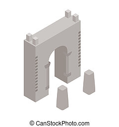 Wall fortress icon, isometric 3d style - Wall fortress icon...