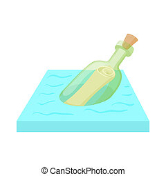 Bottle with letter icon, cartoon style - icon in cartoon...