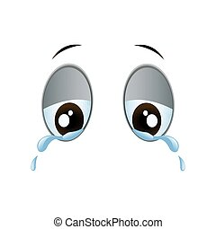 Vector Cartoon Eyes - Vector Illustration of Sad Crying...