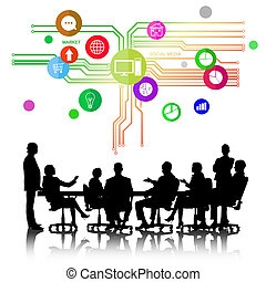 Business meeting - Group of business people silhouettes and...