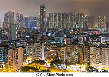 Hong Kong residential building at night