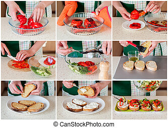 A Step by Step Collage of Making Pepper Bruschetta - A Step...