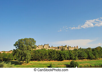 Carcassonne - The medieval castle of Carcassonne, in...