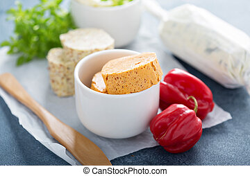 Compound butters with herbs - Variety of aromatic compound...