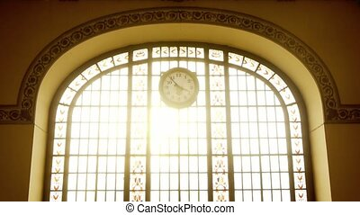 Backlit window with clock - Large backlit window with clock...