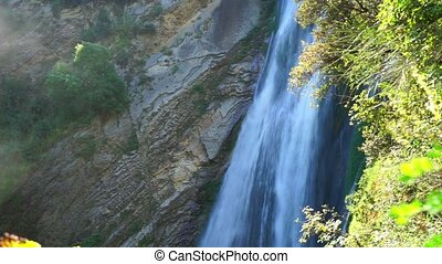 waterfall in villa gregoriana. Tivolli in Italy