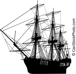 very hi detailed sailing boat vector