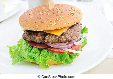 queijo, hambúrguer, -, americano, queijo,...