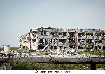 View of donetsk airport ruins after massive artillery...