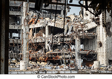Detail view of donetsk airport ruins after massive artillery...