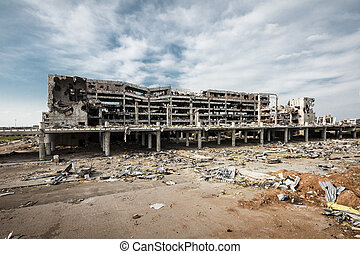 Wide angle view of donetsk airport ruins - Wide Angle view...