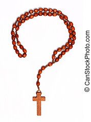 Crisis of faith - Question mark outline made from wooden...