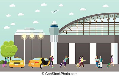 Taxi service company vector concept banner. People catch yellow cab in airport.