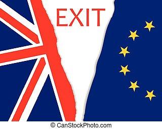Brexit vector illustration.brexit torn flag.