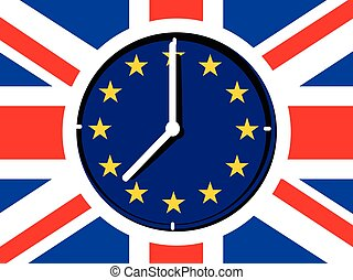 Brexit concept clock - Brexit vector illustration.European...