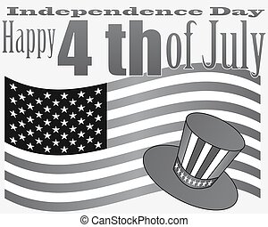 card to the US Independence Day on a gray background